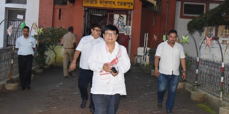 Debabrata Saikia, Opposition leader of Assam Legislative Assembly after visiting the detention camp at Tezpur Central Jail on Wednesday.  Image credit - UB Photos