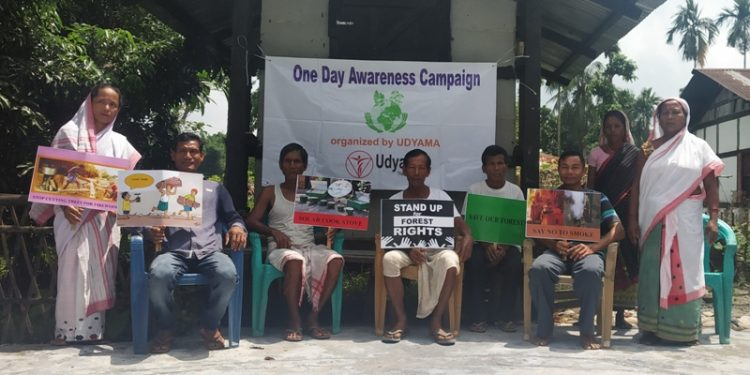 Villagers take part in the awareness programme.