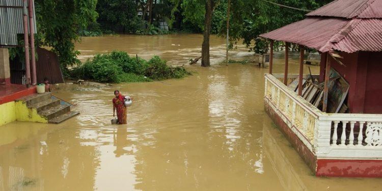 A flood-hit area in Agartala on Monday. Image: Pinaki Das
