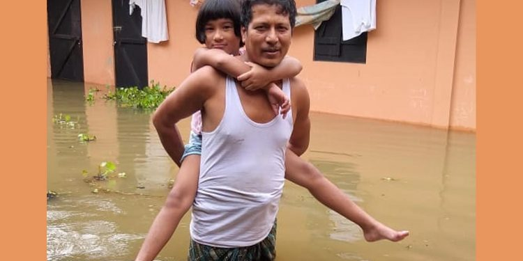 Flood scenario of Milanpur at Mangaldai on Monday. Image credit - Northeast Now