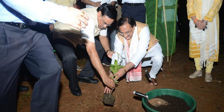 Union minister of human resource development (HRD) Dr. Ramesh Pokhriyal 'Nishank' planting a sapling during his recent visit to IIT-Guwahati.