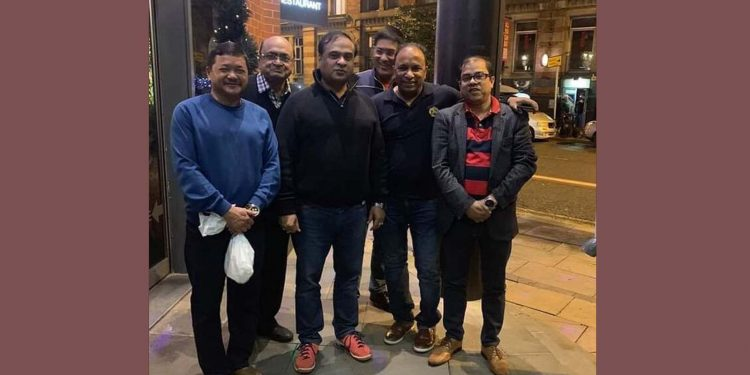 The group photograph of Assam health minister Himanta Biswa Sarma   along with others visiting Manchester going viral on social media.