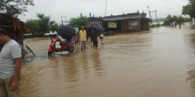 A view of flood situation in Dhemaji's Jonai sub-division. Image credit - Northeast Now