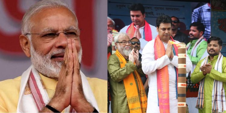 File image of Prime Minister Narendra Modi and Tripura chief minister Biplab Kr Deb inaugurating the Kharchi Puja festival at Old Agartala on Wednesday. Image credit - India Today/Twitter