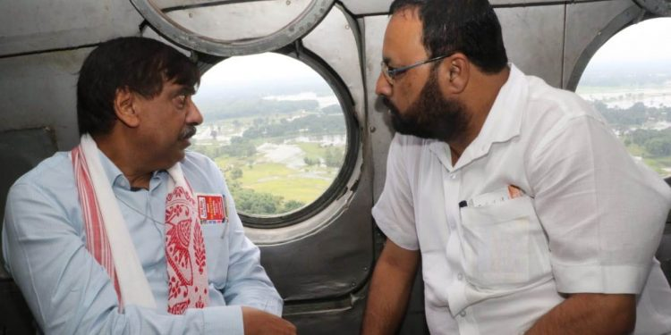 Union Jalshakti minister Gajendra Singh Shekhawat with Assam water resources minister Keshab Mahanta conducts an aerial survey in upper Assam on Tuesday.
