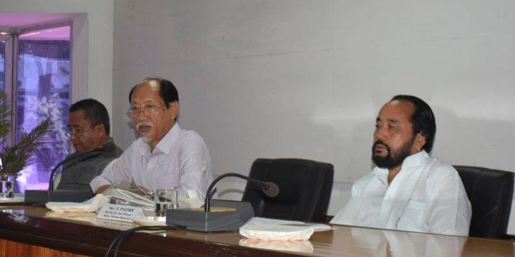 Nagaland CM Neiphiu Rio (c) addressing the second consultative meeting on RIIN at Chumukedima. Image: Northeast Now