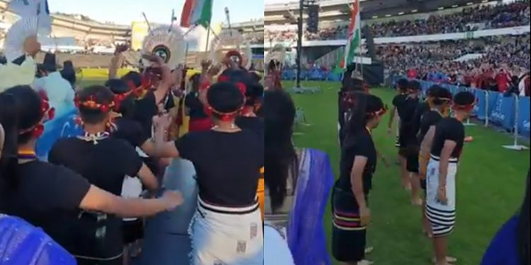 Nagaland U-15 girls' football team taking part in the opening ceremony of Gothia Cup held at Gothenburg in Sweden. Image credit - twitter @neikha_zale