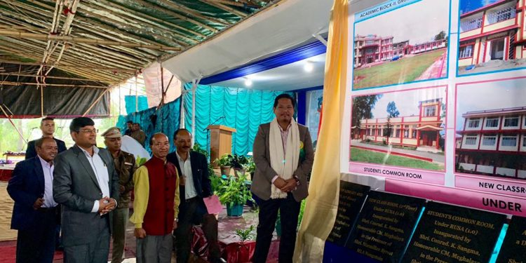 Meghalaya chief minister Conrad K. Sangma inaugurating the new building of Nongsoin College on Wednesday. Image credit - Twitter @SangmaConrad