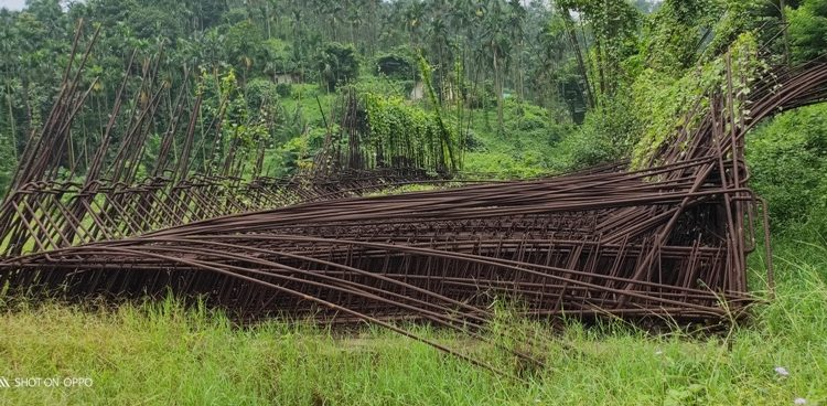 Construction materials for railway station left abandoned at Ronghana village in Byrnihat in Meghalaya.