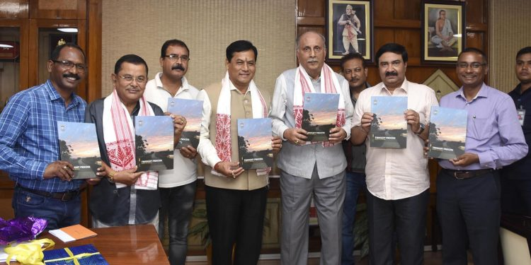 Assam chief minister Sarbananda Sonowal releasing SITA's journal 'Thought Process' in Guwahati on Wednesday.