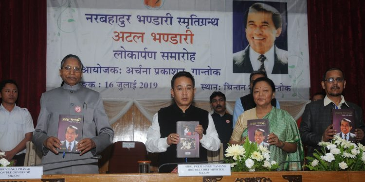 The book was released by governor Ganga Prasad in the presence of chief minister Prem Singh Tamang and others.