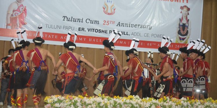 Sumi Naga artistes performing traditional dance at Tuluni festival in Zunhebooto on Monday. Image credit - Northeast Now