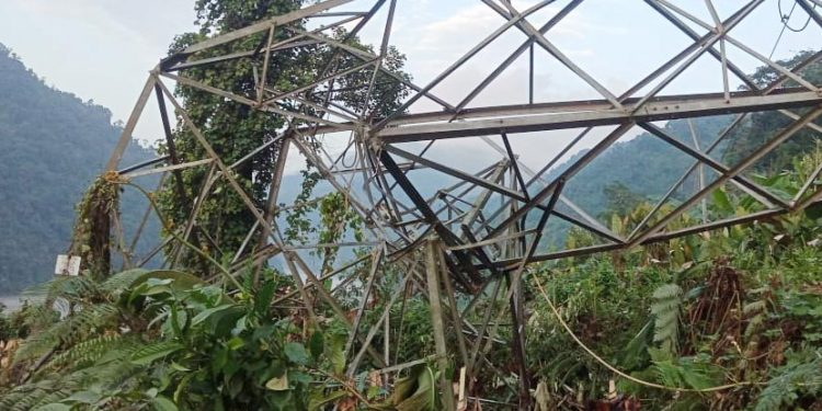 Aalo-Pasighat Electrict Transmission line collapsed at Babuk village in Arunachal on July 17.