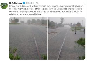 Rains submerge tracks under NFR, passenger trains' movement disrupted 2