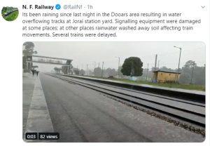 Rains submerge tracks under NFR, passenger trains' movement disrupted 1