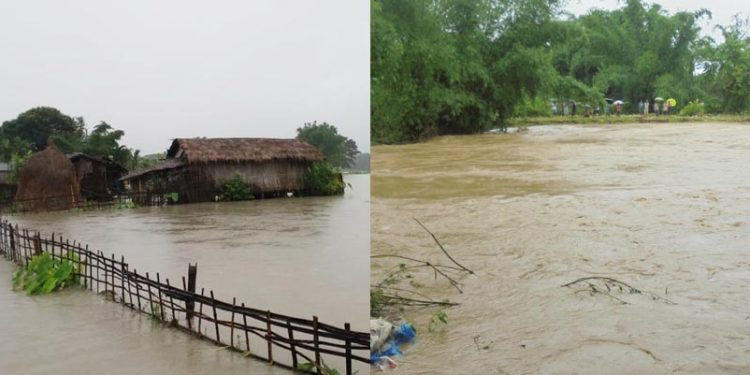 Views of flood situation in Dhemaji district. Image credit - Northeast Now
