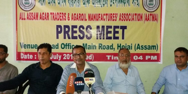 AATMA's general secretary Helaludin Ahmed and other office bearers addressing the media in Hojai on July 24, 2019. Image: Northeast Now