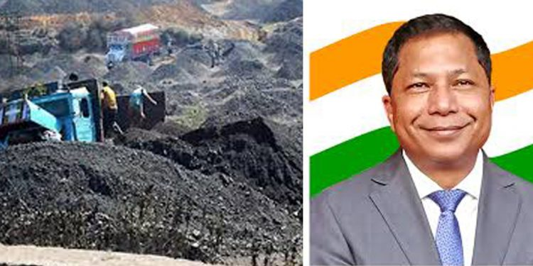 A coal mine and (right) Mukul Sangma. Image credit - Firstpost.com/facebook