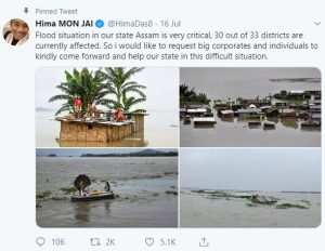 Assam sprint queen Hima donates half of monthly salary to flood relief fund 1