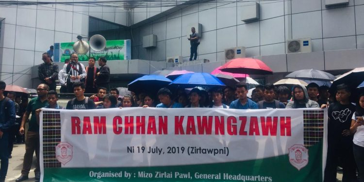 Mizo Zirlai Pawl members staging protest in Aizwal on Friday.