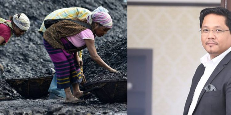 View of a coal mine and (right) Meghalaya chief minister Conrad K. Sangma. Image credit - The Hindu/Twitter
