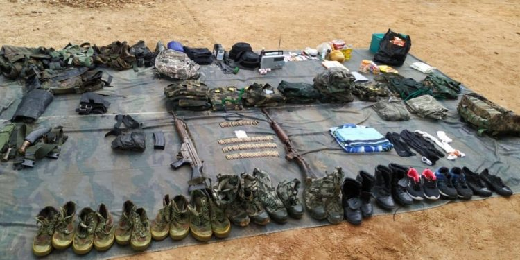 Arms recovered from the NSCN (IM) camp in Manipur. Image credit: Twitter