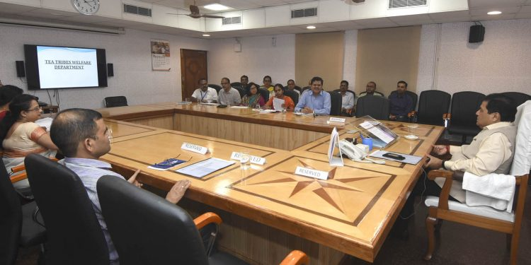 Assam chief minister Sarbananda Sonowal reviewing the implementation of  the schemes of Tea Tribe Welfare Department at a meeting held at the conference room of Chief Minister's Office in Janata Bhawan on Friday