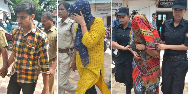 Shweta Agarwal murder case convicts Govind Singhal, his sister Bhavani Singhal and mother Kamala Devi Singhal being produced at court in Guwahati on Thursday. Image credit: UB Photos