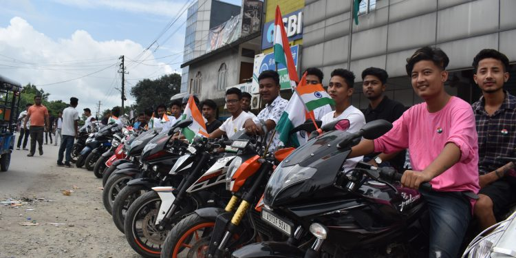 Bikers participating in the Freedom Ride at Tangla town in Udalguri district on Thursday. Image: Northeast Now