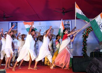 Arties of the Song & Drama Division presenting a play on Kanaklata at a function on the eve of 73rd Independence celebration, organized by Regional Outreach Bureau, Guwahati under the Ministry of Information & Broadcasting in Guwahati on August 14, 2019. Image by UB Photos