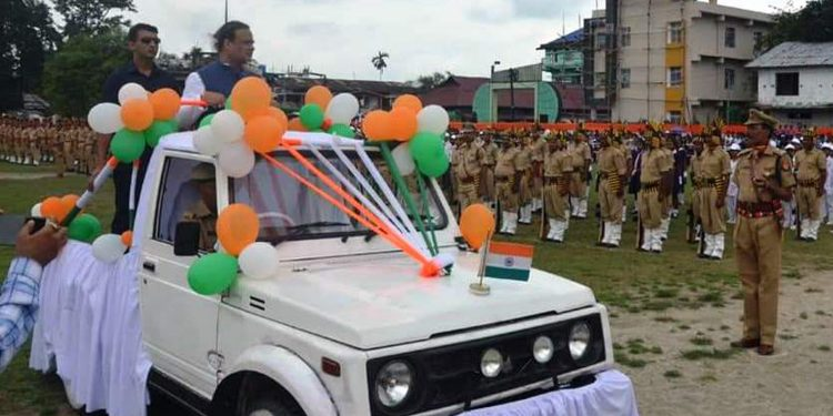 Assam minister Himanta Biswa Sarma the Guard of Honour in North Lakhimpur on Thursday. Image: Northeast Now