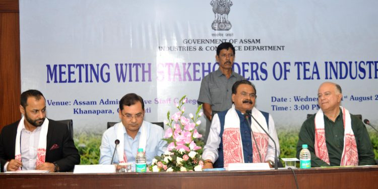 Assam industries and commerce minister Chandra Mohan Patowary interact with the stakeholders of tea industry like ATCL, ABITA, NETA etc in Guwahati on August 21, 2019. Image by UB Photos.