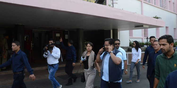 Meghalaya CM Conrad Sangma along with others walking to the office during the launch of Fit India Movement in the state. Image: Northeast Now