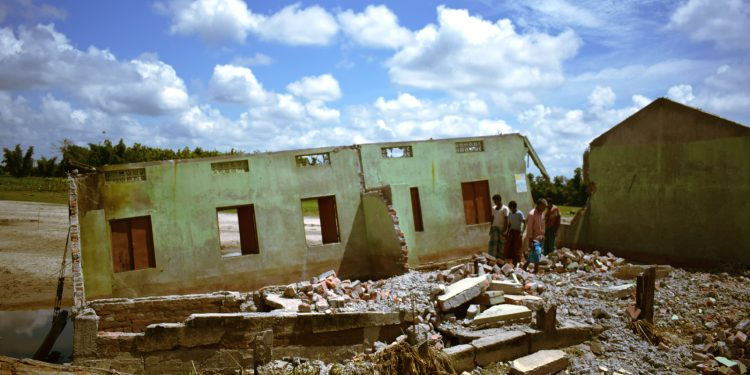 File image of school building washed away by flood