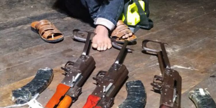 Recovered AK 56 rifles in Mizoram. Image credit: Northeast Today