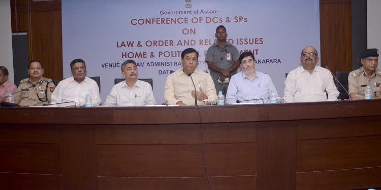 Assam CM reviewing the law and order situation in Guwahati on Friday. Image credit: UB Photos