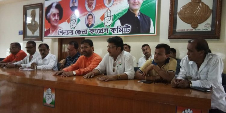 Silchar district Congress committee members at a press briefing in Indira Bhavan. Image: Northeast Now