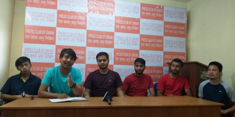 SPYF members addressing the press in Gangtok on Friday. Image: Northeast Now