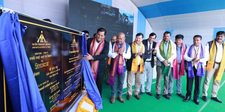 Assam CM Sarbananda Sonowal laying foundation for facelift of Rupsi airport (File image)