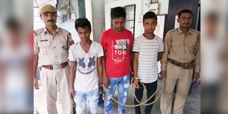 The three dreaded robbers in police custody in Kharupetia. Image: Northeast Now