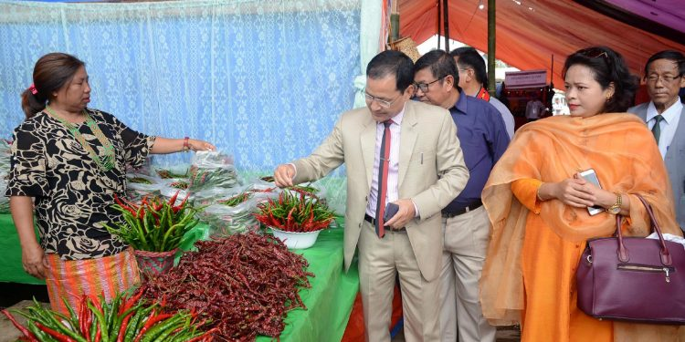Ukhrul DC Joseph Pauline  taking a stroll of the chilli festival. Image: Northeast Now