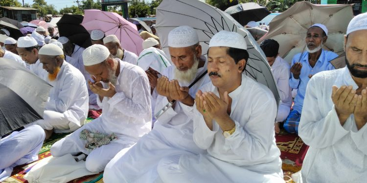 Dy Speaker of Assam, Aminul Haque Laskar, offering namaz on the holy occasion of Id-ul-Azha in Berenga, on the outskirts of Silchar, on Monday. Image: Northeast Now