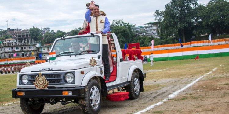 Arunachal Pradesh CM Pema Khandu at the I-Day parade programme in Itanagar on Thursday. Image credit: Twitter/Pema Khandu