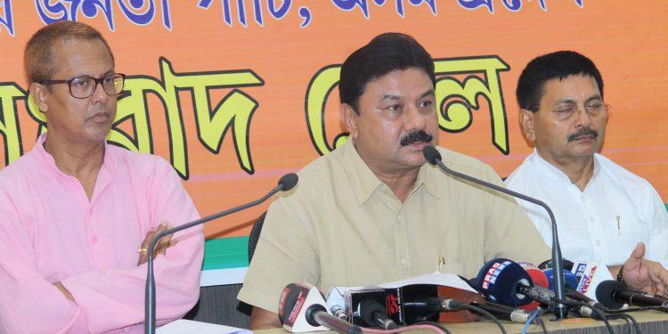 Assam BJP president Ranjit Kr Dass addressing a press conference in Guwahati. (File image)