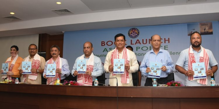 CM Sarbananda Sonowal releasing books published by Assam Police in Guwahati on Tuesday.