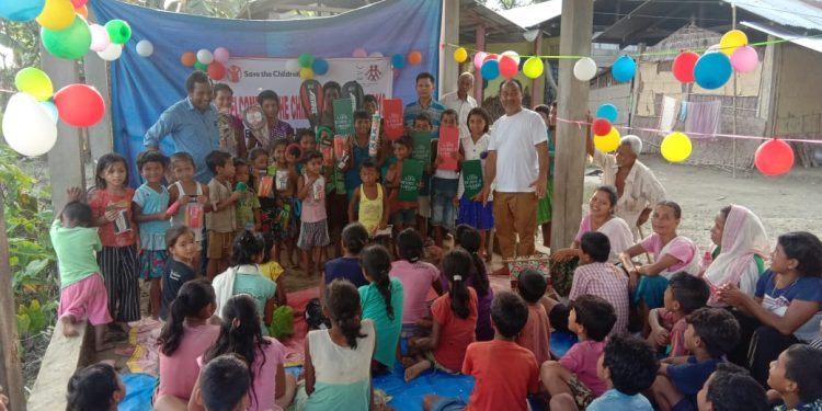 Save the Children opens Child-Friendly Spaces (CFS) in flood ravaged Dhemaji district.