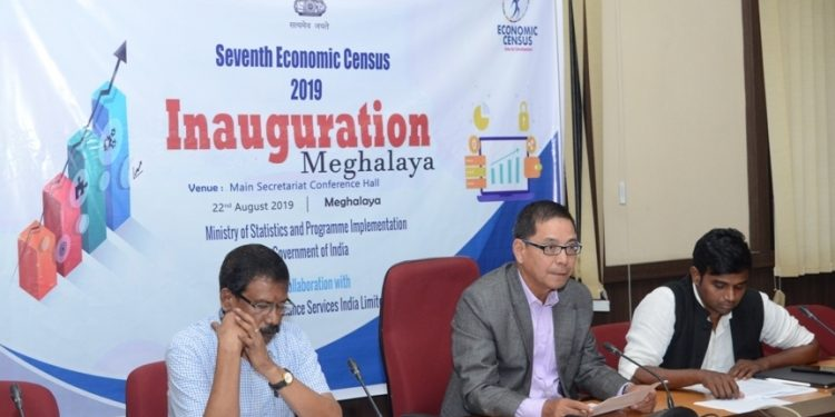 Meghalaya additional chief secretary Hector Marweiñ launches the economic census  in Shillong on Thursday.
