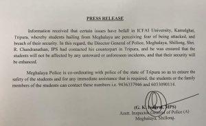 Meghalaya police alert post mayhem at ICFAI University Tripura 1