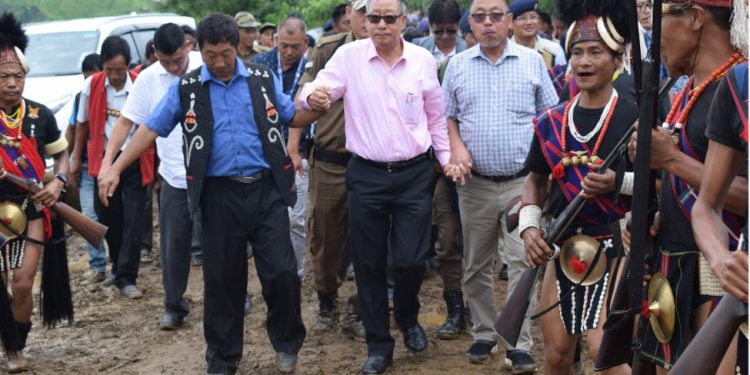 NEC secretary Ram Muivah (centre) and Nagaland minister for health and family welfare S Pangnyu Phom (right) arriving at Sakshi in Longleng district on August 12, 2019. Handout image