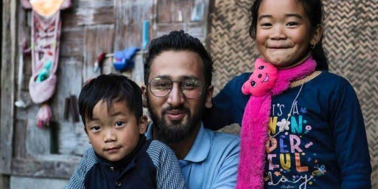Himangshu Baruah with two Arunachali kids at Zero